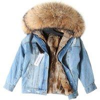Custom distressed fur collar winter ladies denim jean jacket women