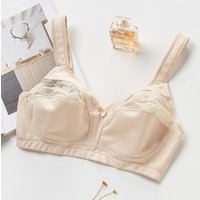 Womens Soft Wireless Unlined Bra,Fast Dry Breathable Back Close Full Cup Sexy  Lace Cotton Bra