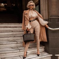 2019 New Spring Women Club Sets Vestidos Khaki TopsandPant 2 Two Pieces Set Long Sleeve Draped Celebrity Evening Party Sets