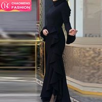 6107# islamic clothing long sleeve maxi black muslim abayas bodycon modest evening dresses