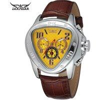 Jaragar Sport Racing Geometric Triangle mechanical Genuine Leather Strap Mens Watches Top Brand Luxury Automatic Wrist Watch
