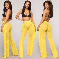 Sexy Women Solid Color Chiffon Bell-bottomed Pants Beach Wear Bikini Cover Up Pants