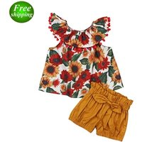 2019 Toddler Girls Summer Clothing Set Floral Rose Vest + kids Shorts Kids Clothes Girls Shirt Pants Suit