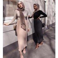 2019 Women Islamic Turkey Long Casual Muslim Skirt  Plain  Pleated Chiffon Skirt