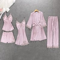 Women Silk Night Dress Lace Satin Robe Plain Color Sexy Five Piece Pajamas Set