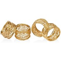 Wholesale Handmade Gold Wire Round Mesh Napkin Rings for Wedding and Dinners Tableware Napkin Holder