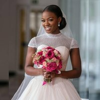 Good quality high collar plus big size customized full beaded puffy african short sleeve wedding gowns MWA251