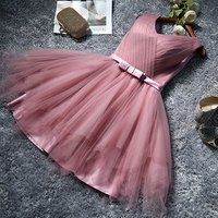 Wholesaler Womens Knee Length Short Tulle Bridesmaid Dress A-line Swing Party Dress