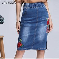 Plus Size Stretch Waist Floral Embroidered Denim Skirts Women Spring Summer Short Pencil Jeans Skirt Saias Casual Fashion