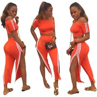 2019 hot selling TA7020 women fashion casual orange crop top and slit pants two piece set
