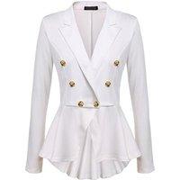 8colors women autumn pure color button coat suit jacket blazer lady swallow tail coat