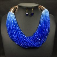 Wholesale Fashion Costume Jewelry Bohemian Multilayer Colorful Bead Statement Necklace Earrings Set
