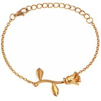 Rose Flower Chains Bracelet Bangle Personalized Woman Jewelry Gold Plated Bracelet