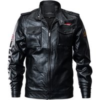 Latest Men Custom Embroidered Bomber Letter Printing Leather Motorcycle Jacket Men