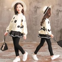 Stretch long-sleeved trouser suit two-piece suit fall girls boutique baby kids clothing sets winter