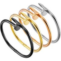 316L Stainless Steel 18 Gold Plated Mens Cuff Nail Bangle