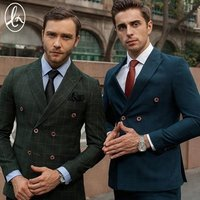 In stock new arrival closure collar checked custom tailor men suit