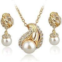 Destiny Jewellery wholesale fashion pearl and crystal Luxury jewelry set,dubai 18k gold jewelry sets women