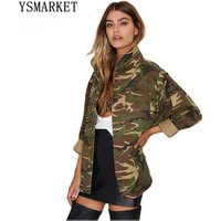 Fashion Military Women Jacket Spring Autumn Zipper Button Outwear Coats Female Vintage Camouflage Army Green Jackets