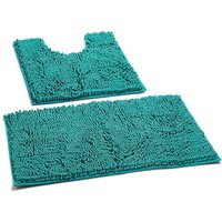 2 piece Bathroom Rugs Set Chenille Microfiber Non Slip Bath Shower Mat