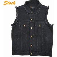 Wholesale Men Sleeveless Wash Denim Vest Jacket
