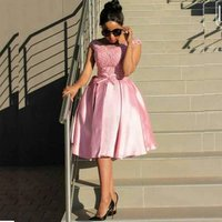 Wholesale cheap off the shoulder appliqued lace evening party knee length pink bridesmaid dresses  MBA24