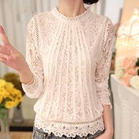 2019 New autumn Ladies White Blusas Womens Long Sleeve Chiffon Lace Crochet Tops Blouses Women Clothing Feminine Blouse