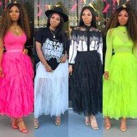 Women clothing 2019 cupcake pleated magic wrap long tutu skirt