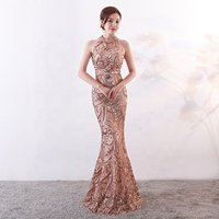 High-end Factory Outlet 2019 New Arrivals Party Sexy Bodycon Lace Sequined Maxi Prom Women Evening Dress