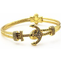 Fashion Anchor Bracelet Stainless Steel 18k Gold Luxury Bangle for Men Buckle Clasp Womens Jewelry