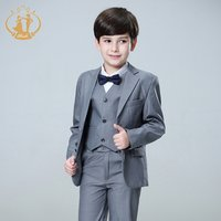 Nimble 1-6years Factory Direct Sell Fashion Childrens Suit England Style 3pcs Boy Suit Set Grey Color Child Suit