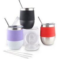 12 oz Double Wall Vacuum Insulated Travel Stainless Steel Stemless Wine Glass Tumbler Cup with Straw for Coffee Wine 2set
