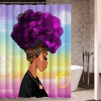 Afro Bubble Girl Shower Curtains African Art Bath Decor Mildew Resistant Waterproof Polyester Fabric Shower Curtain