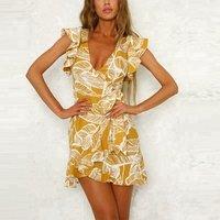 2018 Beach Fashion Women Ruffle Yellow Leaf Print Wrap Mini Dress