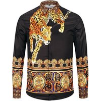 Fashion Vintage 3D Tiger Printing Full Sleeve Mens Dress Shirt