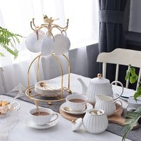 European style ceramic coffee cup including gold line teapot cup dish coffee cup for home g for hotel and restaurant