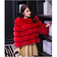 China manufacturer ladies fashion winter warm thicken coat S-XXX Red faux fur jacket best selling online shop women fox fur coat