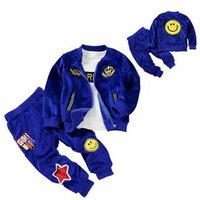 2018 New Arrival Fashion Desgin Knitted Kids Wholesale Boys Clothing Sets Jacket+pants 2pieces Packing With Smeile Crown Patch