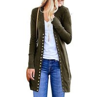 Ecowalson Womens Long Sleeve Casual Snap Button Knit Long Cardigan Sweaters