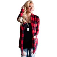 Fashion Red Suede Elbow Patch Long Sleeve Plaid Women Cardigan