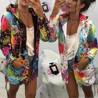2019 Fashion Autumn Winter Women Cardigan Multicolor Printing Hooded Coat Zipper Jacket Outerwear Sportswear