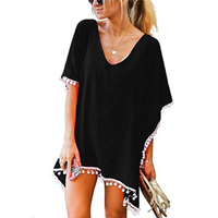 Women Pom Pom Trim Kaftan Chiffon Fashion Loose Fit Swimwear Beach Cover Up