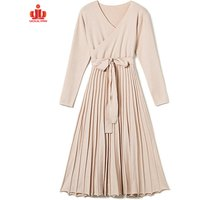 Street Fashion Knitting Long Sleeve Dress Women Sweater Gown