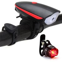 120DB Electric Horn Outdoor Alarm Speaker USB rechargeable led bicycle front Light with free bike taillight