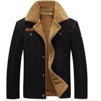 Men Fashion Coat Thick Warm Black Denim  Military Airline Pilot Jacket Men
