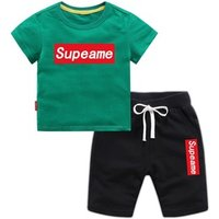 Boy short sleeve suit summer two-piece 2019 new kids class service costume baby cotton clothes