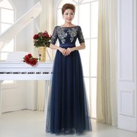 Q031 Half Sleeves Elegant A-line Soft Organza Appliqued Lace mother of the bride evening dress