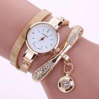 Duoya Brand Crystal Round Dial Luxury Wrist Watch For Women Dress Gold Ladies Casual Women Bracelet Watch