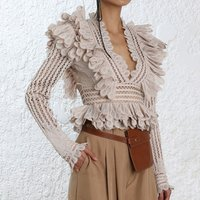 2019 New Spring Women Spring and Summer Clothing Water soluble Lace blouse hollow out falbala decoration crop top women