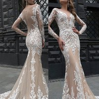 Alibaba sexy trumpet mermaid lace wedding dress 2019 HA697